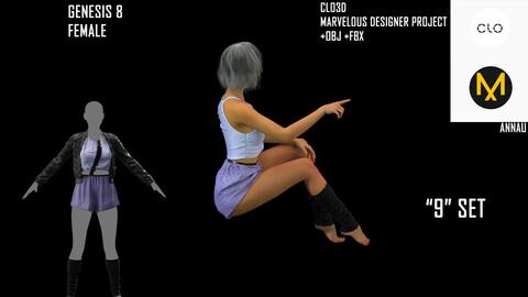 "GENESIS 8 FEMALE: CYBERPUNK ""9"" SET: CLO3D, MARVELOUS DESIGNER PROJECT| +OBJ +FBX"