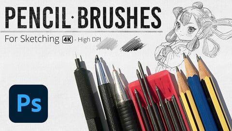 Pencil Brushes for Sketching - High DPI
