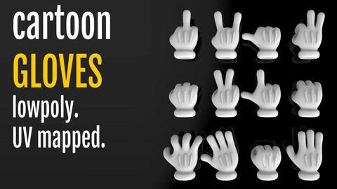 Cartoon glove hand with 4 fingers Low-poly 3D model, UV mapped