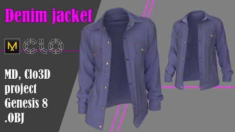 Denim jacket. Marvelous Designer, Clo3d project + OBJ