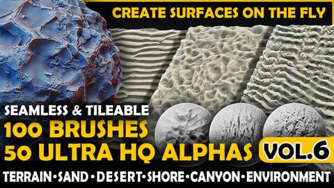Ultra HQ Terrain / Surface Seamless Sculpt Zbrush brushes + Alphas (Blender, Substance, etc.) Vol.6