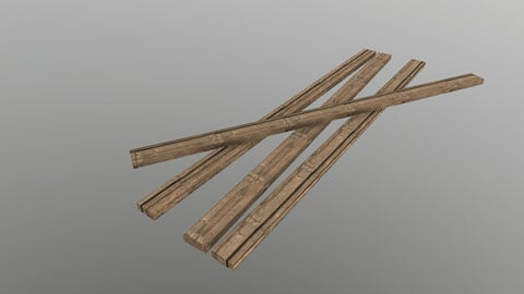 Low Poly Wooden Planks 3D Model free