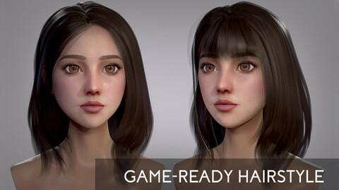 Realtime Long Female Hair - 3 Fringe Options