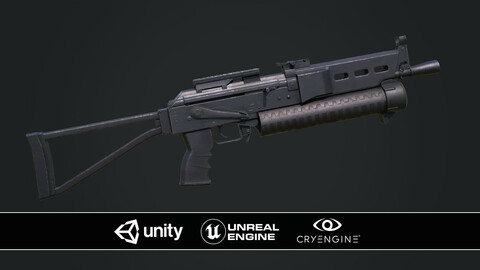 PP19 Bizon Game-ready Lowpoly PBR Textured Rigged 3D Model