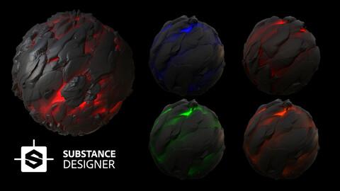 Procedural Magma Material / %100 Substance Designer