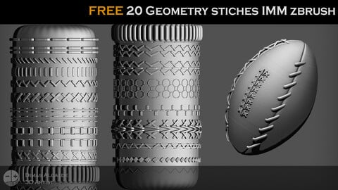 🧵 🧶[FREE] 20 Geometry STICHES IMM {BRUSHES} Zbrush !