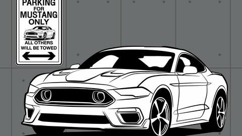 DIGITAL FILE VECTOR / Sign Parking MUSTANG Only