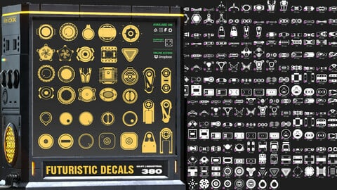 380 Futuristic Decals | Sci- fi Graphics Graphics vol_ 2 | 3D Coat Steciles