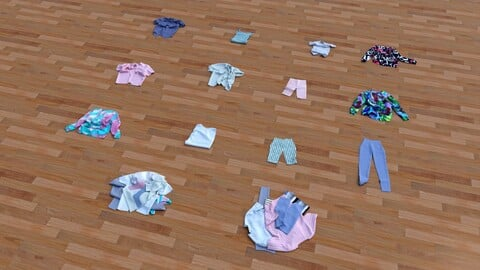 Textured Clothes Lying 3D model