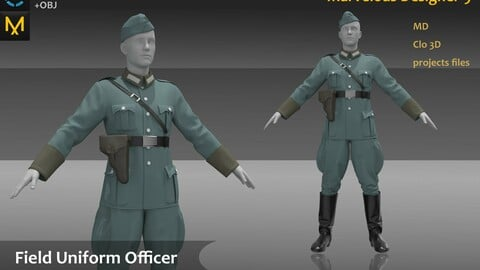 The German Field Uniform Officer Uniform_ Clo3d, Marvelous Designer Project + FBX + OBJ(if needed)