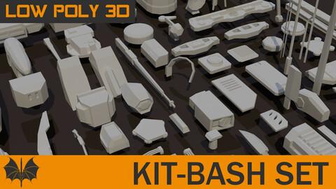 130 Meshes Low Poly Kit-Bash Set