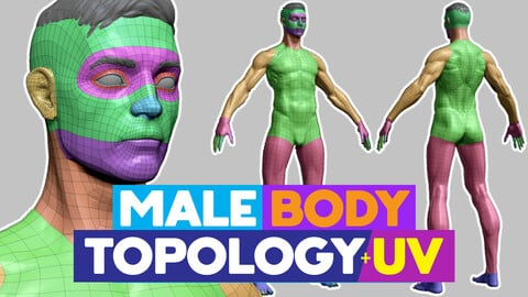 Full Male Body topology and UV map