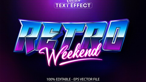 Retro weekend text, neon style editable text effect