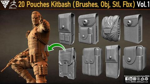 20 Pouches Kitbach (IMM Brushes, Obj, Stl, Fbx)