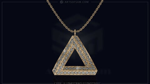 Penrose triangle Diamond Pendant | 3D cad for print, Pictures and Videos