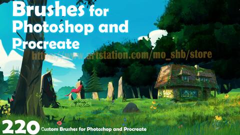220 Custom Brushes for Photoshop and Procreate