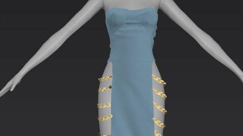 Denim Chain Dress OBJ + ZPRJ
