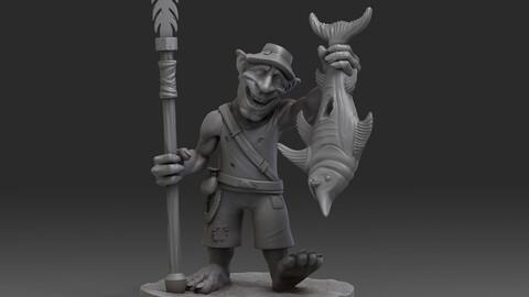 Goblin Fisherman miniature 52 mm