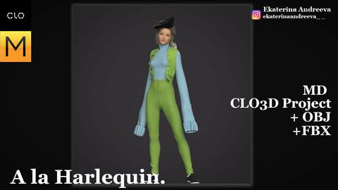 Outfit CLO/Marvelous Designer A la Harlequin.