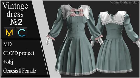 Vintage Dress №2. Clo 3D / Marvelous Designer project +obj