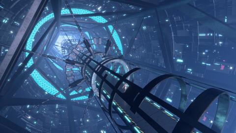 scifi space Corridor Bridge Tunnel