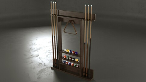 Cue Pool Rack 3D model