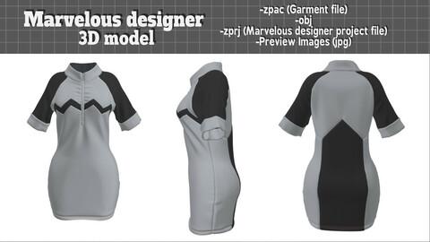 Jogging Short-sleeved Dress - Marvelous designer 3D model