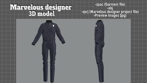 Police uniform set - Marvelous designer 3D model