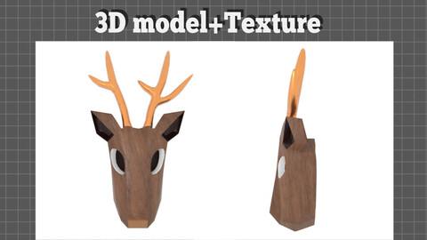 Deer head Casual style - 3D model+Texture
