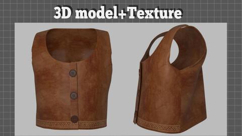 Suede Vest Clothes - 3D model