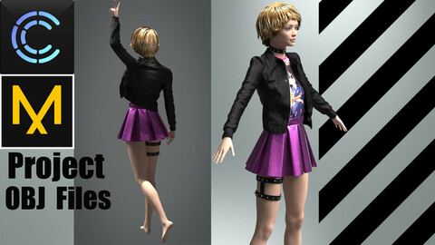 Gothic girl outfit (MD/Clo3D Project+OBJ Files)