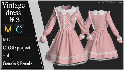 Vintage Dress №3. Clo 3D / Marvelous Designer project +obj
