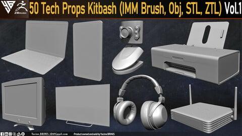 50 Electronic Props Kitbash (IMM Brush, Obj, STL, ZTL) Vol 01