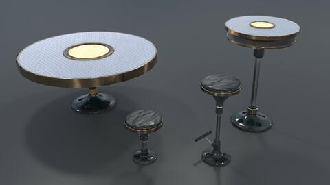 Sci-fi Bar Furniture Set Low-Poly