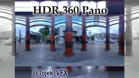 HDR 360 Panorama Little Tokyo Village 11 mall entrance tower