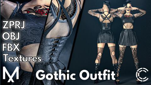 Marvelous Designer + Clo3d + OBJ + FBX + Texture : Gothic outfit