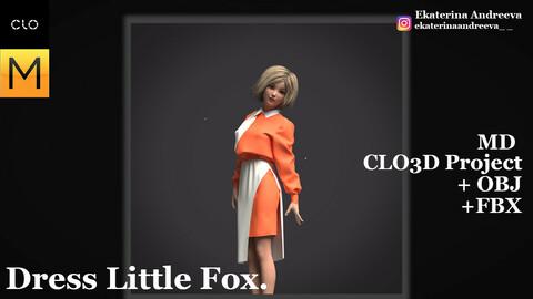 """CLO/Marvelous Designer """"Dress Little Fox""""."""