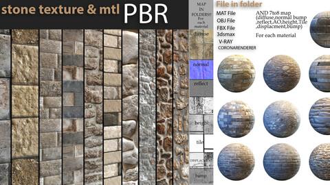 10 stone PBR texture & mtl