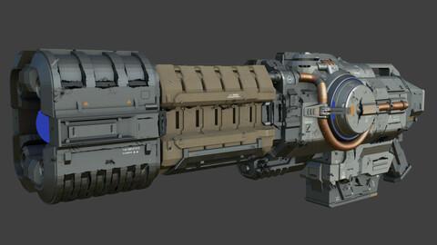 Sci-Fi Plasma Rifle Low-poly 3D model