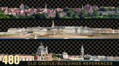 480 OLD BUILDINGS PANORAMIC View | Castles Cutouts VOL_4