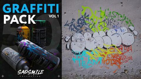 50 Graffiti Decals Vol.1 + Substance Painter Material + UE4 Materials