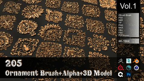 205 Ornament Brush + Alpha + 3D Model