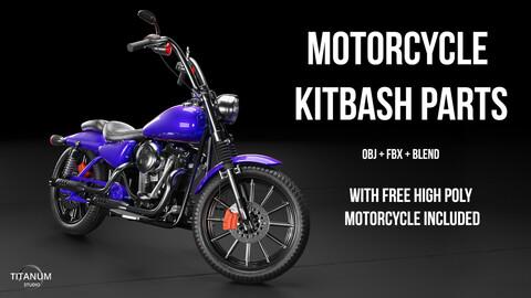 Hard surface Motorcycle KitBash parts