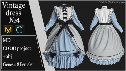 Vintage Dress №4. Clo 3D / Marvelous Designer project +obj