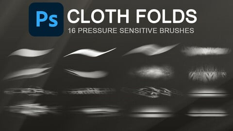 Wrinkles, creases, cloth folds and texturing photoshop brush set.
