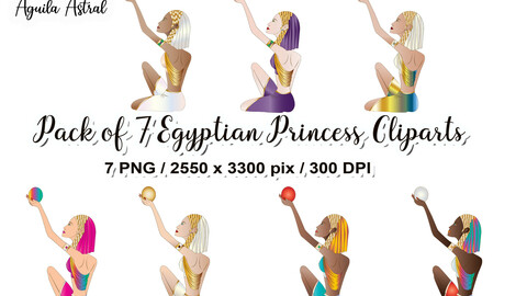 Pack of 7 Egyptian Princess Cliparts, png, stickers,