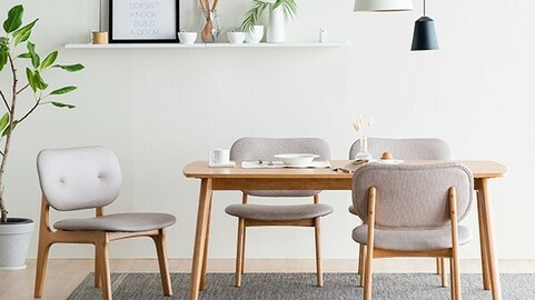 Scandic Family Rounding Low Wood Dining Table Set