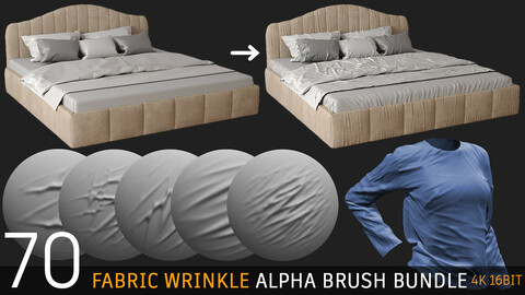 70 fabric wrinkle alpha brush : Tension & Compression (4K tiff 16bit) + free video