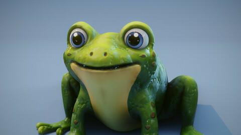 Cartoon Frog Animated 3D Model