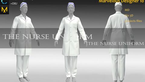 Nurse Uniform_Hosipital Attire_Medical Garment_MD file_Practice for Zbrush (Clo3D Project + obj files)